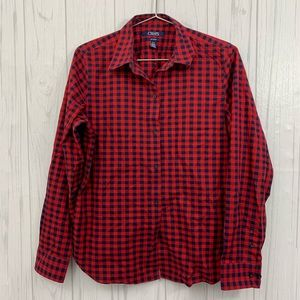 CHAPS NO IRON RED & BLUE CHECKERED BUTTON FRONT L